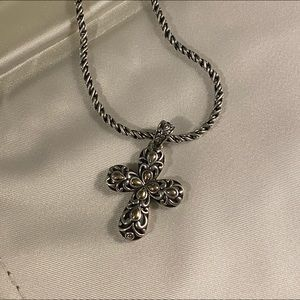 Silver/gold cross necklace